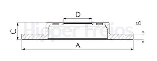 Disco de Freio Hipper Freios (HF) - Eixo Traseiro - KIA Cerato 2.0i 16V - HF358B (Sólido e Sem Cubo)