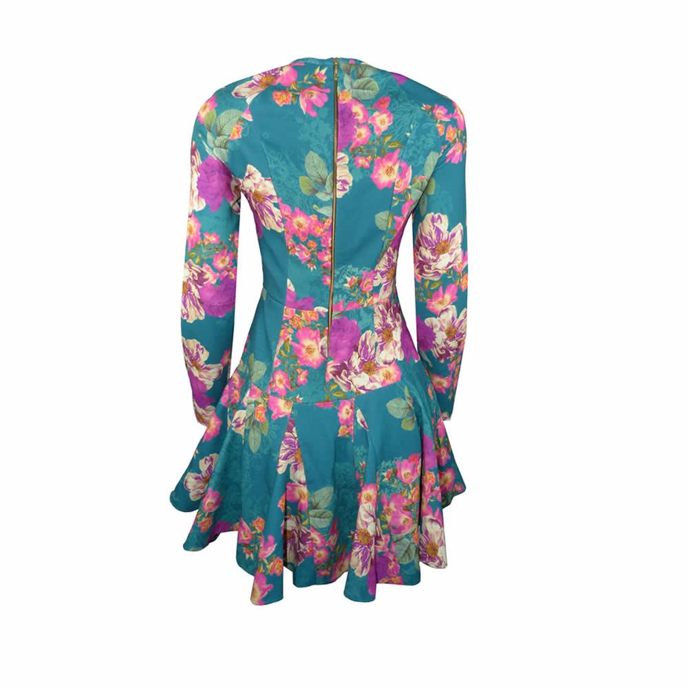 Vestido Tule Estampado Flores Skazi - VE17978 - TAMANHO P