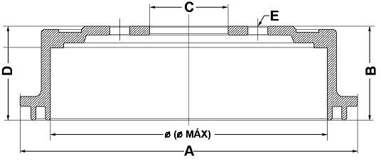 Tambor de Freio FREMAX - Eixo Traseiro - MITSUBISHI L200 Triton - BD7020 (Tambor de Freio Sem Cubo)