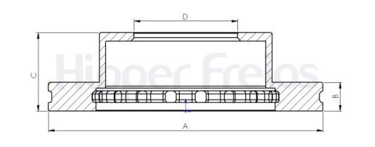 Disco de Freio Hipper Freios (HF) - Eixo Dianteiro - TOYOTA  4Runner / FJ Cruiser / Hilux / Tacoma (Ventilado e Sem Cubo) - HF512