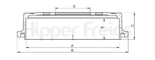 Tambor de Freio Hipper Freios (HF) - Eixo Traseiro - NISSAN Frontier - HF605B (Tambor de Freio Sem Cubo)