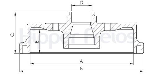 Tambor de Freio Hipper Freios (HF) - Eixo Traseiro - NISSAN Sentra - HF611A (Tambor de Freio Com Cubo)