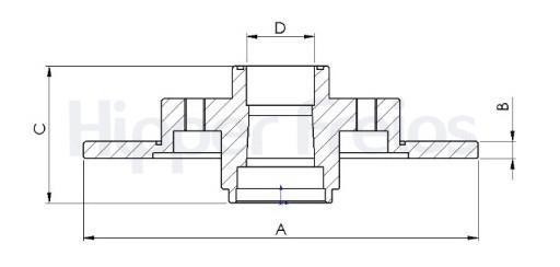 Disco de Freio Hipper Freios (HF) - Eixo Traseiro - CITROËN C4 / DS4 / PEUGEOT 3008 / 308 / 408 - HF751D (Sólido e Com Cubo)