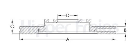 Par de Discos de Freio Hipper Freios (HF) - Eixo Dianteiro - MITSUBISHI Pajero Full - HF206C (Ventilado e Sem Cubo)
