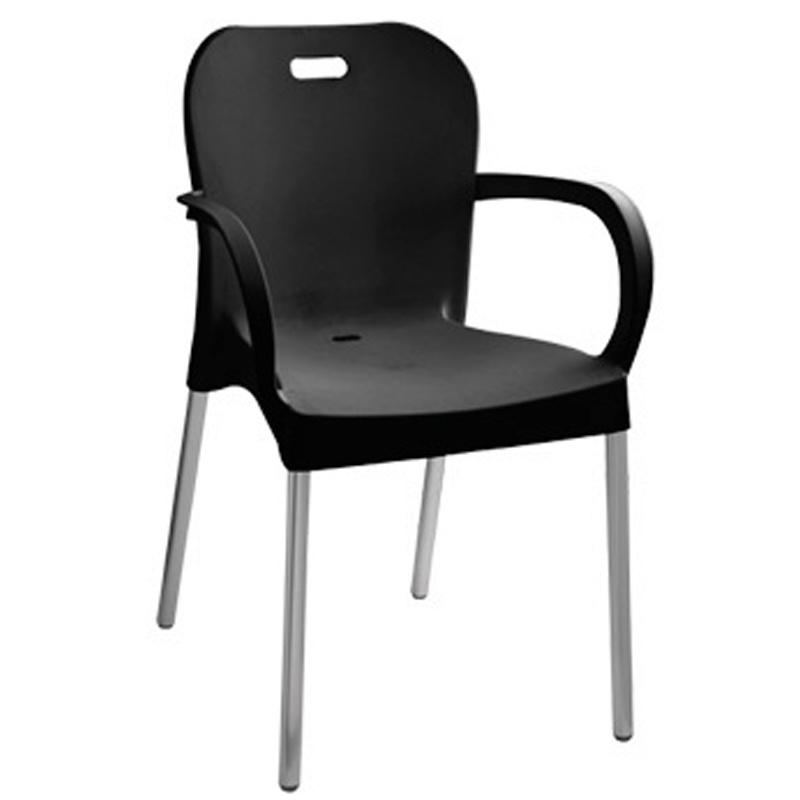 Cadeira Fixa Poltrona de Plástico com Braços - Preto - Paramount - 372