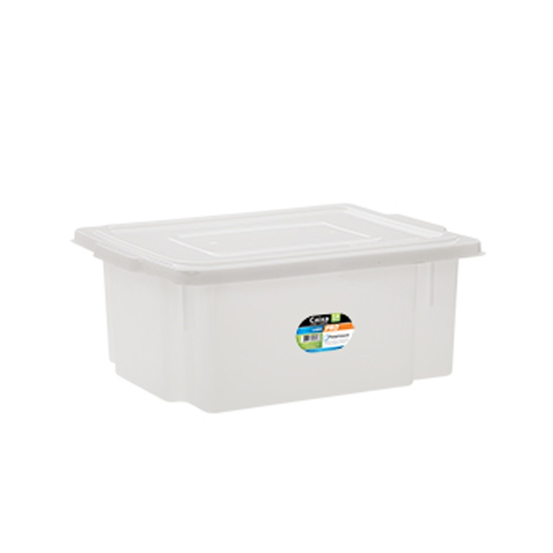 Caixa Organizadora de Plástico Multiuso Branco com Tampa 34x44x17cm - 18 litros - Paramount - 530 57078