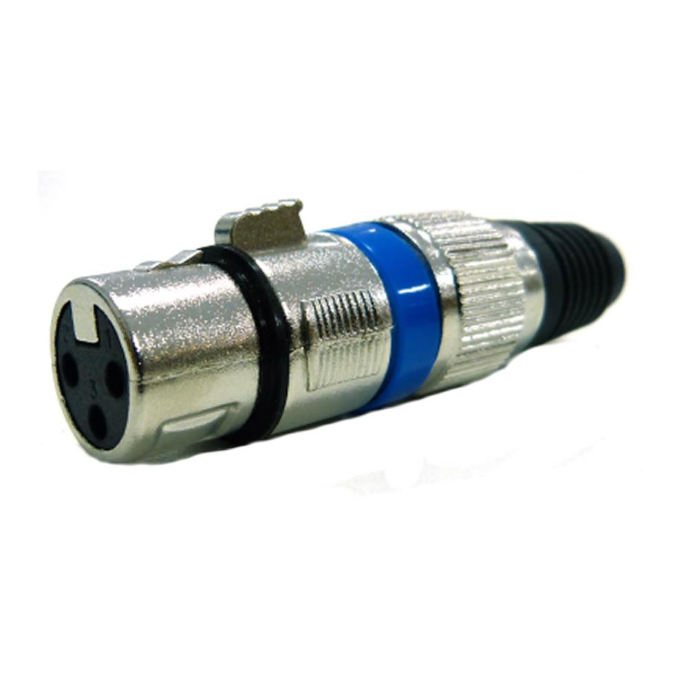 Plug XLR Fêmea Metal Azul para Microfone com Trava Dualcomp 1.8.108 - Unitário