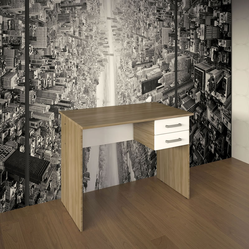 Mesa para Escritório com 2 Gavetas Multivisão MO6600-NGBR Nogal/Branco