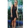 Vestido Bandagem com Detalhes em Fivelas Preto S Trend