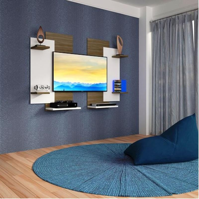 Painel para TV até 60 Polegadas com Suporte Modern Nogal Branco - Multivisão - MODERN-NGBR