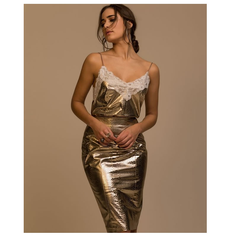 Saia Midi Metalizada Dourado Esmeral