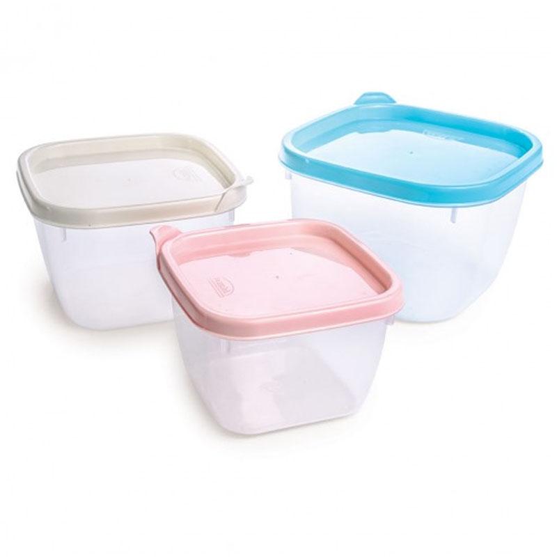 Conjunto de Potes Plástico Quadrado com 3 Peças de 470ml/760ml/1,1l - Plasútil - 8168
