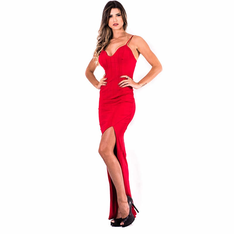 Vestido Longo Bandagem Vermelho Anne Fernandes - 8091 - TAMANHO P