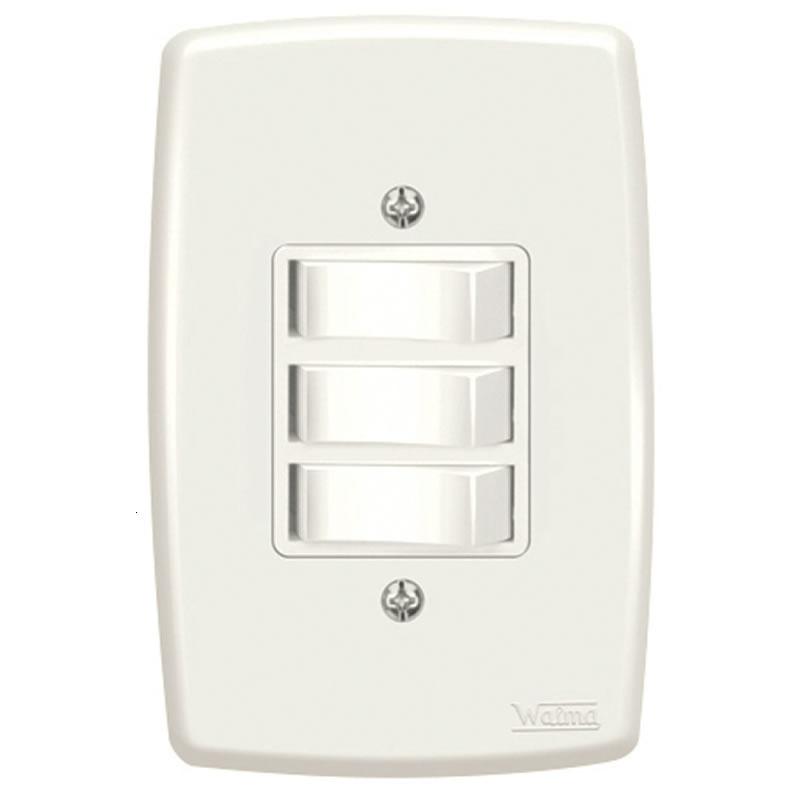 Interruptor 3 Simples 10A Walma 2531 com Espelho