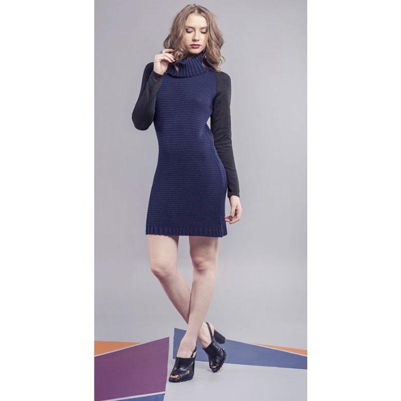 Vestido Tricot Gola Alta Azul Marinho e Preto Lafê - 2346 - TAMANHO P