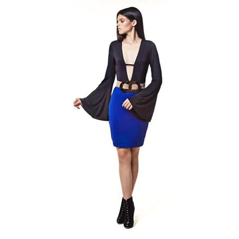 Vestido Decote Bicolor Preto e Azul Nathi Faria - V002C - TAMANHO M