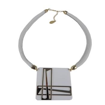 Colar Couro Quadrado Branco/Dourado Turpin - 14-7324OUBR