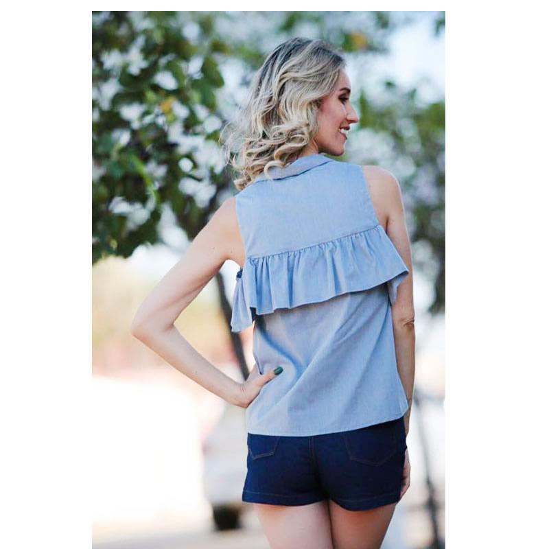 Camisa Detalhe Babado Azul Esmeral - 26503 - TAMANHO P