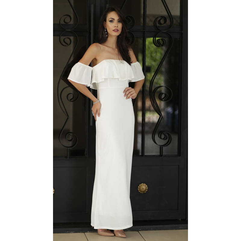 Vestido Longo Babado Off White Esmeral - 26714 - TAMANHO P