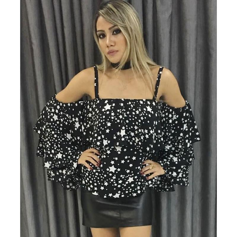 Blusa Ombro a Ombro com Detalhes em Estrelas Preto Esmeral - 26854 - TAMANHO G