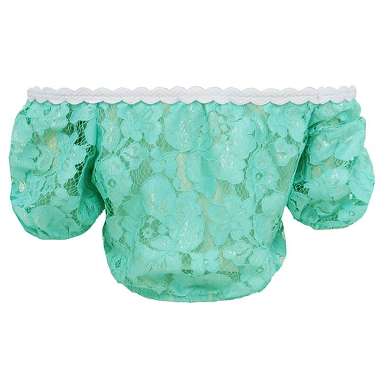 Blusa Cropped com Renda Verde Lovlity
