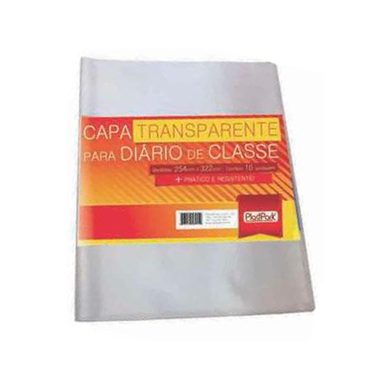 Capa Plástica para Diário Escolar 254 x 322MM Plastpark Pacote com 10 Unidades - 316