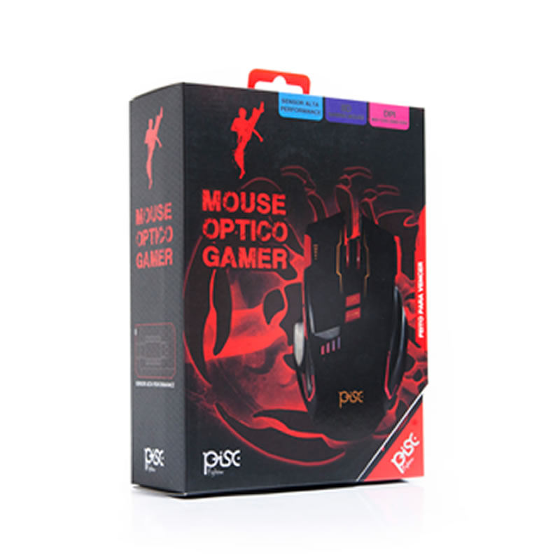 Mouse USB Gamer Pisc 1882 3200dpi Preto