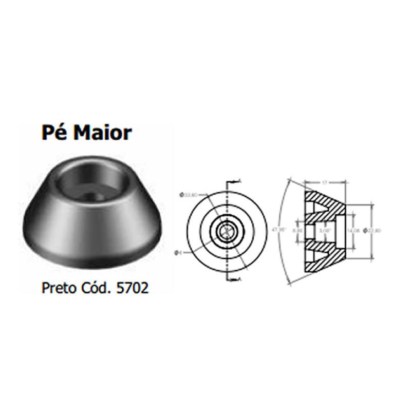 Pé de Plástico para Caixa Acústica Stcom Preto - 5702