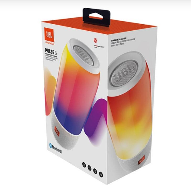 Caixa de Som Portátil JBL Bluetooth á Prova d´água - Pulse 3 Branco - Faça a música Ganhar Vida com a Luz dos LEDs, Onde quer que Você Esteja. - PULSE 3 BRANCO
