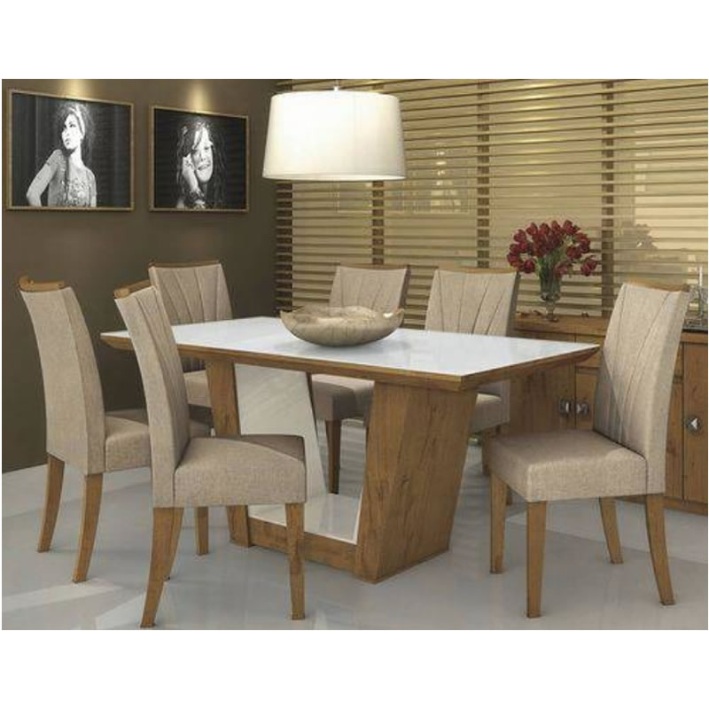 Mesa Jantar Apogeu 6 Cadeiras Rovere Soft Lopas - 118426