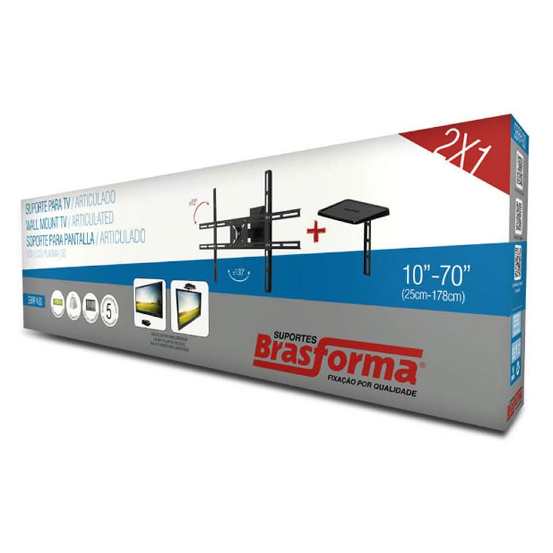 Suporte Articulado Inclinável para TV Lcd, Led Plasma, 3D e Smart 10 a 70 Polegadas com Suporte para DVD, Blu-Ray ou Decodificador Brasforma - SBRP430