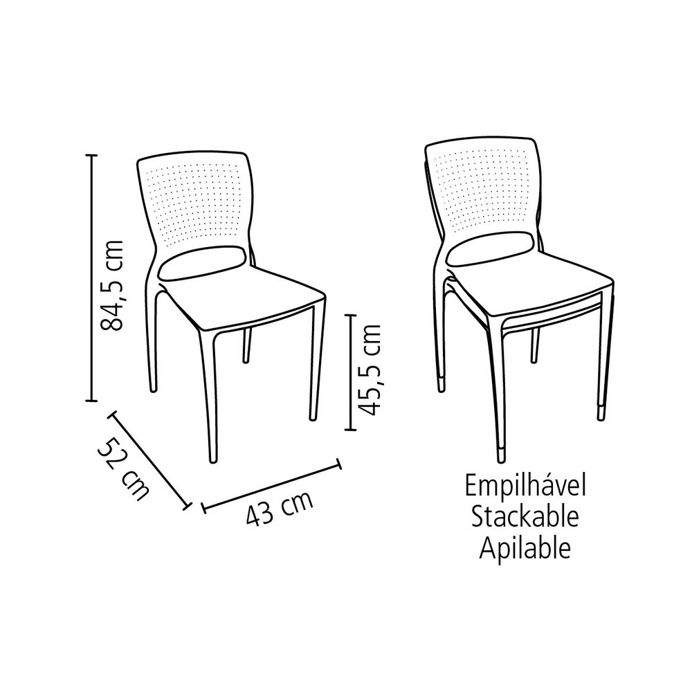 Cadeira Fixa de Plástico Monobloco Vermelho Safira -  Tramontina - 92048/040