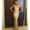 Vestido Longo Bandagem com Alça Ouro Esmeral - 27093 - TAMANHO P