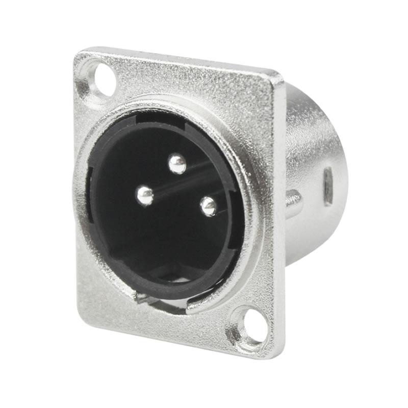 Plug XLR Macho Metal Painel Quadrado Chip Sce 062-9972 - Unitário