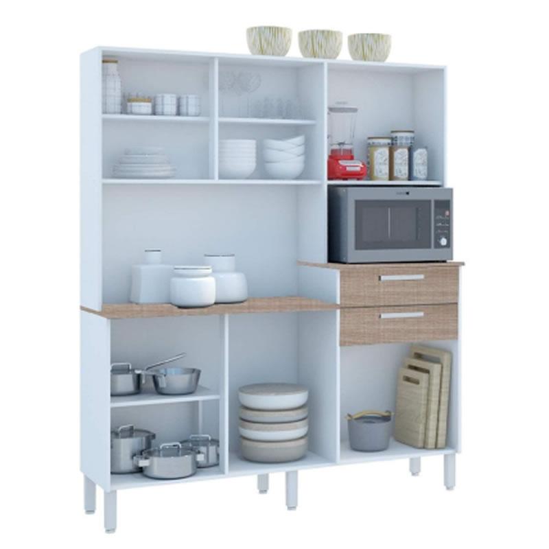 Armário de Cozinha 6 Portas e 2 Gavetas Sonata Nogal White - Kits Paraná - 9315119