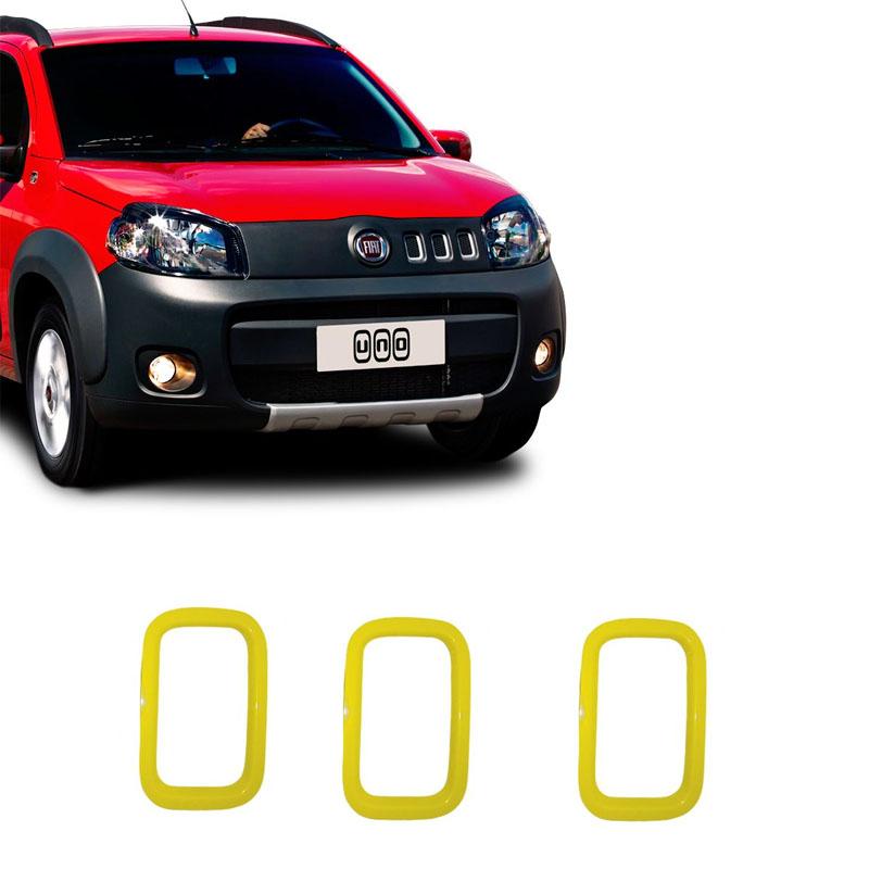 Aplique Amarelo para Grade Uno 2010 Shekparts 3 Unidades - 19.004