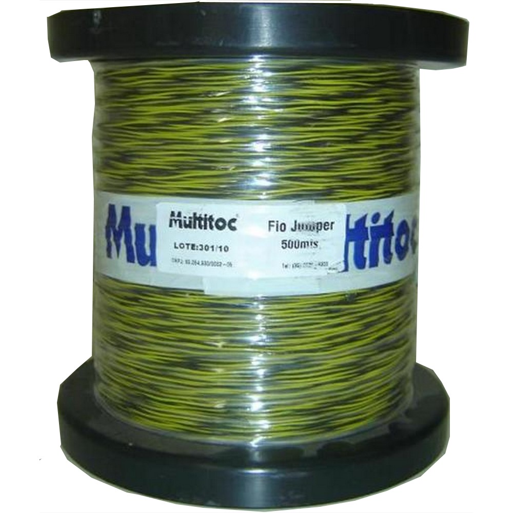Fio de Telefone Jumper Amarelo e Preto - Rolo com 500 Metros - Multitoc - MUCA0214