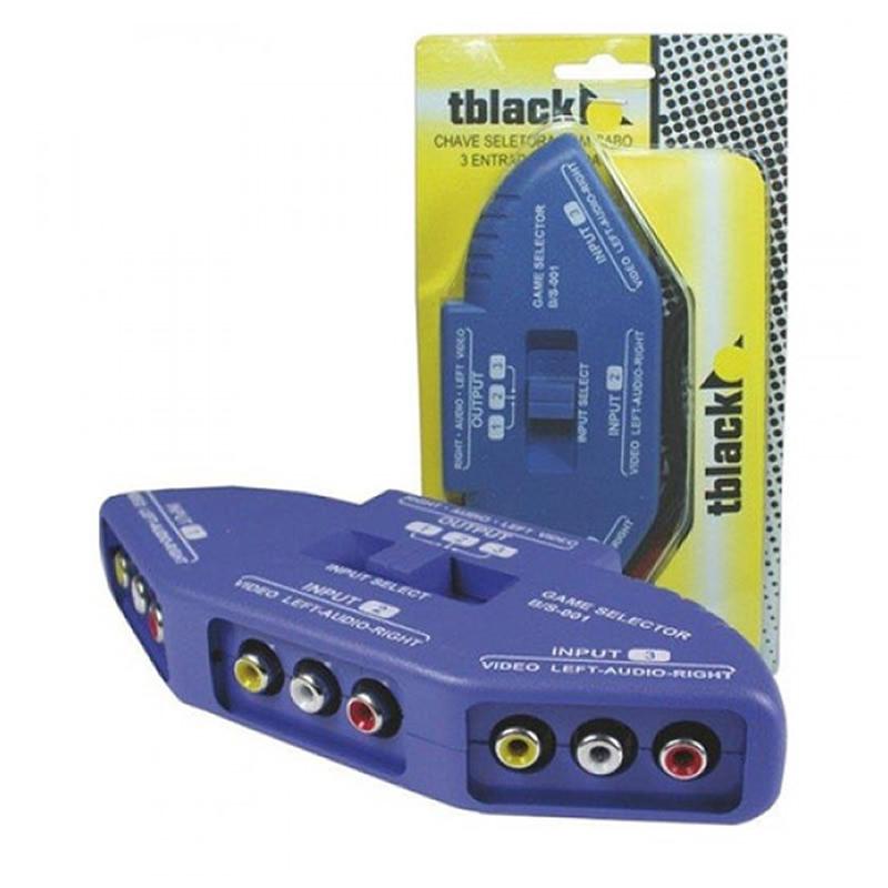Chave Seletora TBlack 4x1 de Áudio e Vídeo com Cabo RCA - 1.12.7