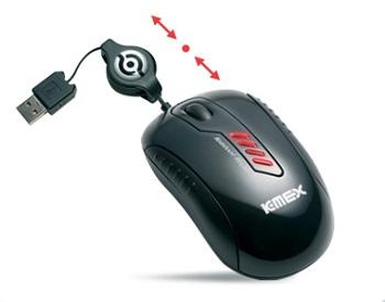 Mouse USB Mini-Retrátil Kmex MO-E133 800dpi Preto