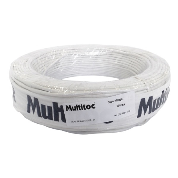 Cabo Manga 4 Vias Multitoc 100 Metros Branco - MUCA1690 - MUCA1690