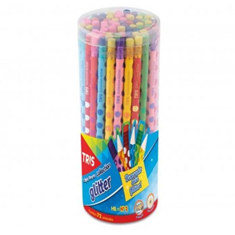 Lápis Preto HB Tris com Borracha Collection Glitter Caixa com 72 Unidades - 634142