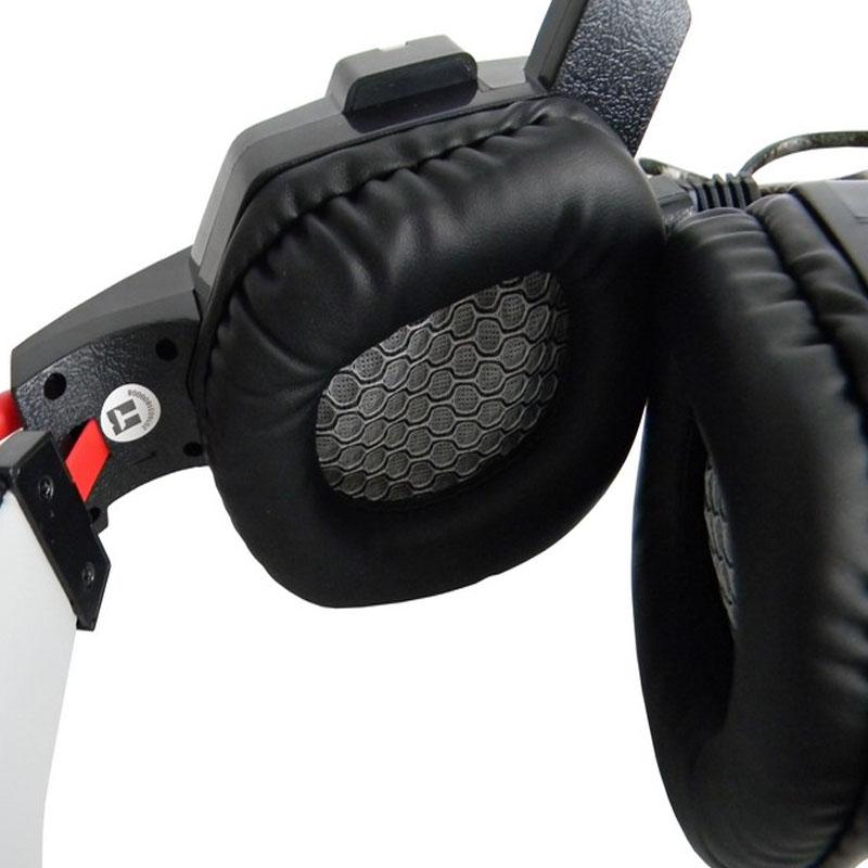 Fone de Ouvido Gamer com Microfone Cabo Reforçado Revestido Silicone Preto e Vermelho Infokit - GH-X20
