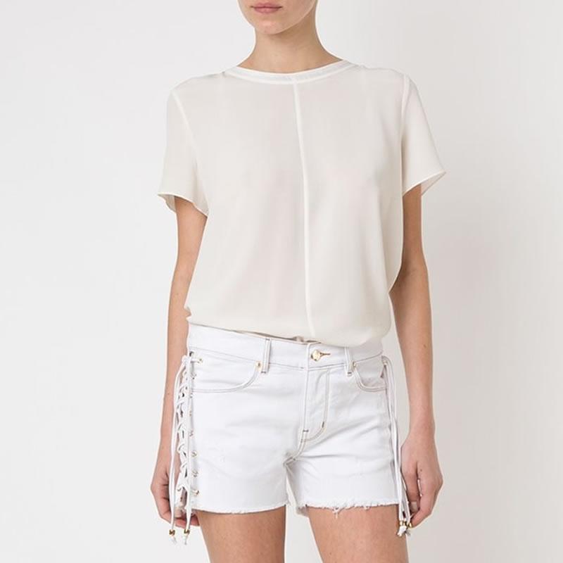 Short Jeans com Amarração Branco Amapô - AMV8052 - TAMANHO 40