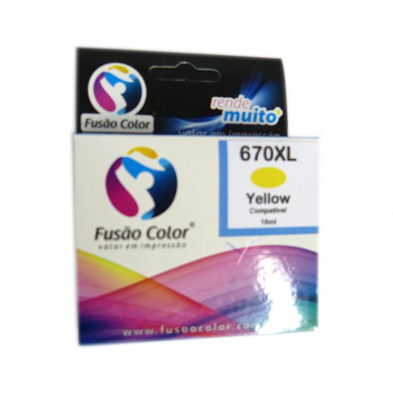 Cartucho de Tinta HP 670XL Amarelo Fusão Color CZ120AB - 57