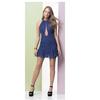 Vestido Curto com Aplicação Azul Litt' Tamanho 40 - 84044 - 84044 - TAMANHO 40