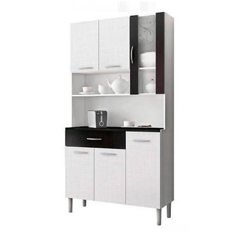 Armário de Cozinha 6 Portas e 1 Gaveta Golden Branco/Linho/Preto - Kits Paraná - 15250