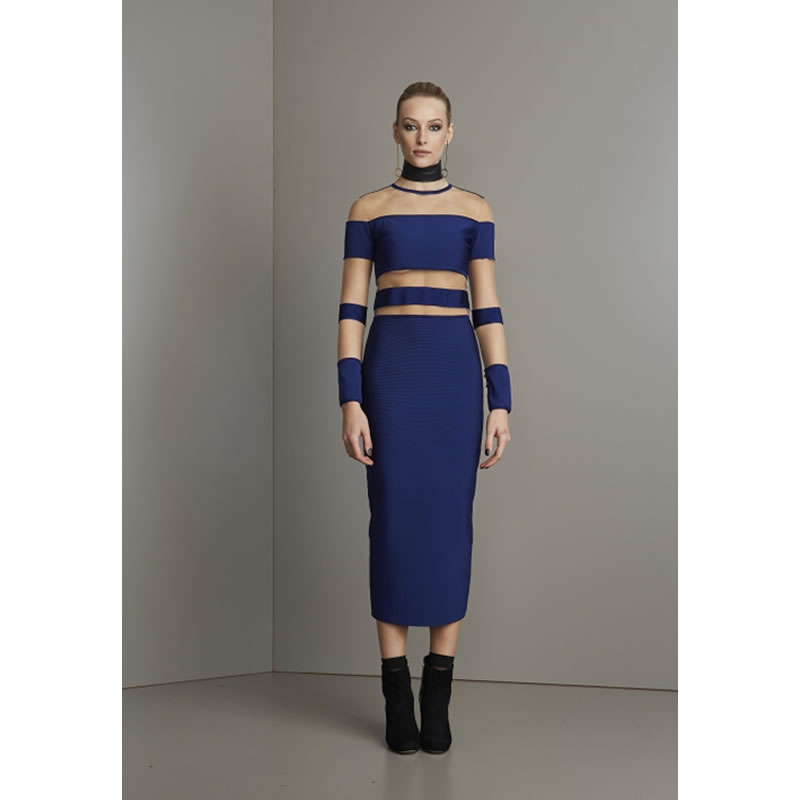 Vestido Midi Bandagem com Detalhe em Tule Azul Skazi - VSN3 - TAMANHO M