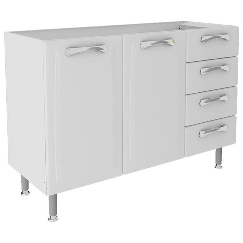Balcão para Pia de Cozinha Premium Itatiaia Branco com 2 Portas e 4 Gavetas - IG3G4GDST-120