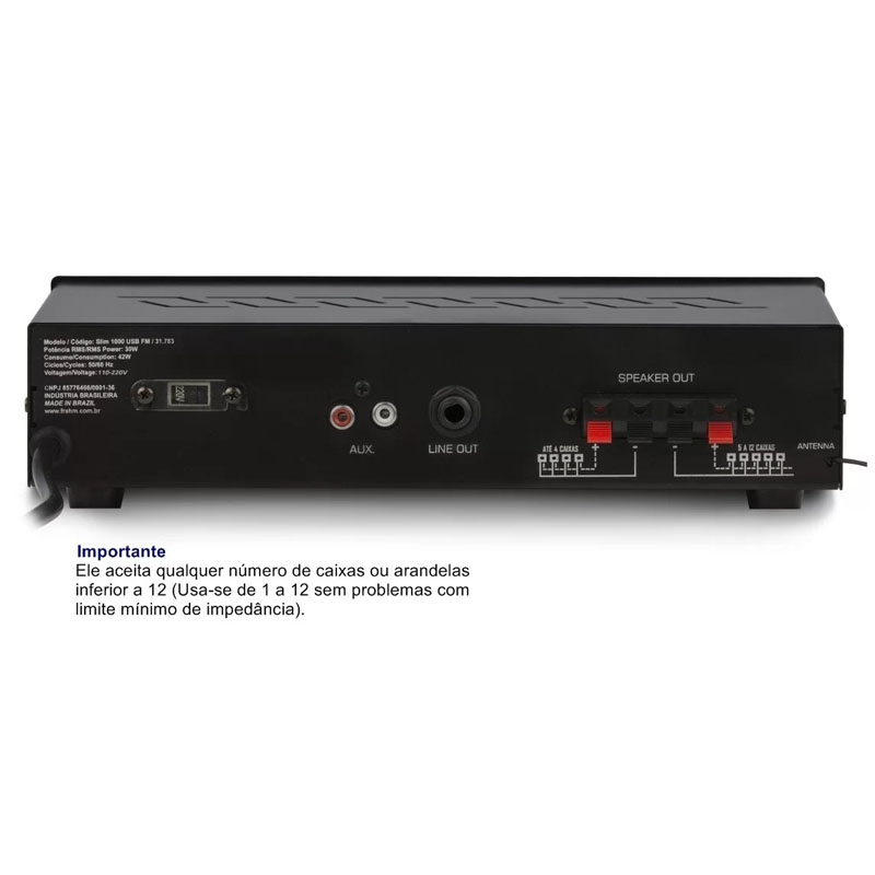 Amplificador Slim 30W Bivolt Frahm Canal 1: Entrada Usb, SD Card e Receptor FM com Controle Remoto e Auxiliar - SLIM 1000 USB - 31783