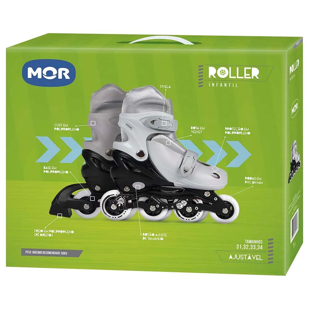 Patins Roller Infantil Cinza Mor de 30 à 33 - 40600122 -  Tamanho Ajustável - 40600122